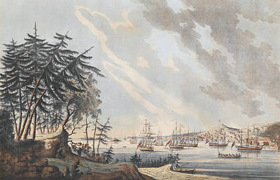Sailboats Drawing - A View Of The Town And Harbour Of Halifax From Dartmouth Shore by Joseph Frederick Wallet DesBarres