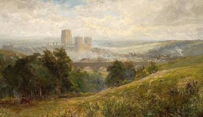 View Painting -  A View Of The Town Of Durham And The Cathedral With Sheep Grazing by Albert Stevens
