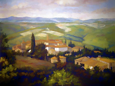 Vineyard Digital Art - A View Of Tuscany by Ronald Bolokofsky