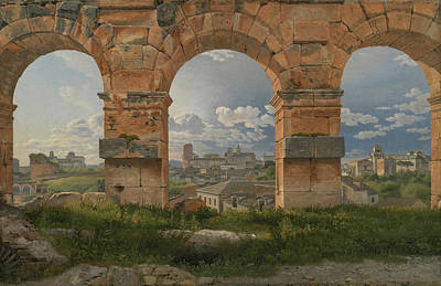 Colosseum Painting - A View Through Three Arches Of The Third Storey Of The Colosseum by Christoffer Wilhelm Eckersberg