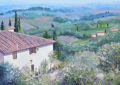 Italy Architecture Painting - A Villa In Tuscany by Jan Matson