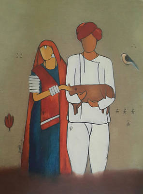 Rajasthani Painting - A Village Family by Swati Agrawal