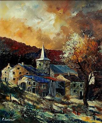 A Village In Autumn Art Print by Pol Ledent