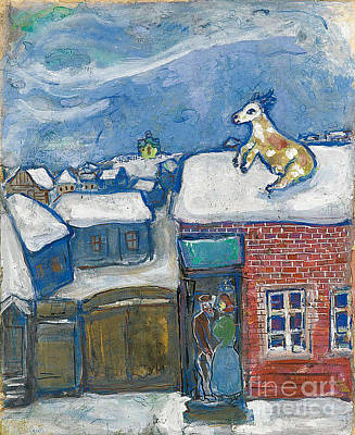 A Village In Winter Art Print by Marc Chagall
