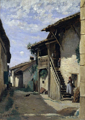 Boulevard Painting - A Village Street, Dardagny by Camille Corot