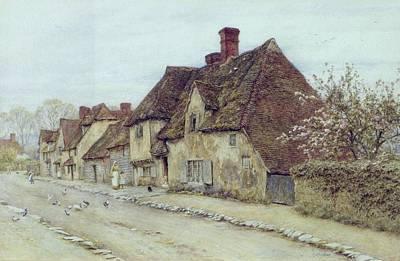 Kent Painting - A Village Street Kent by Helen Allingham