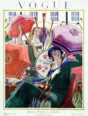 Umbrella Photograph - A Vintage Vogue Magazine Cover From 1924 by Pierre Brissaud