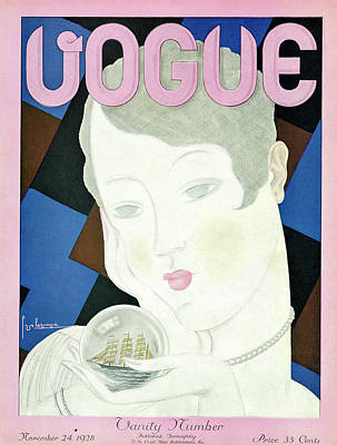 A Vintage Vogue Magazine Cover From 1928 Art Print by Georges Lepape