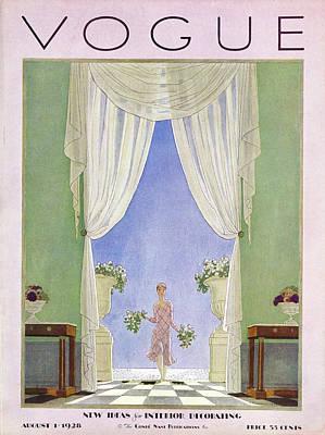 Bouquet Photograph - A Vintage Vogue Magazine Cover From 1928 by Pierre Brissaud