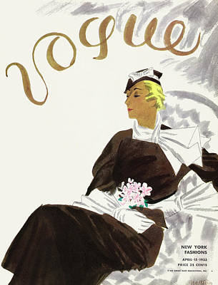 Bouquet Photograph - A Vintage Vogue Magazine Cover Of A Woman by R S Grafstrom