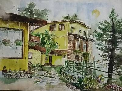 Hide And Seek Painting - a visit to Landour in india by Usha Mishra