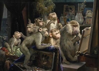 Painting - A Visit To The Artist's Studio by Gabriel von Max