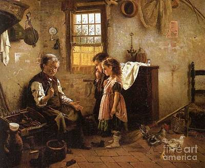 Old Man Painting - A Visit To The Cobbler by MotionAge Designs