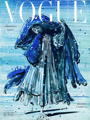 Winter Photograph - A Vogue Cover Of A Girl In Snow by Eugene Berman
