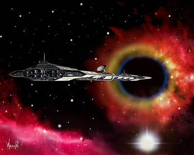 Rocketship Digital Art - A Voyage Through Space And Time by Bill Wright