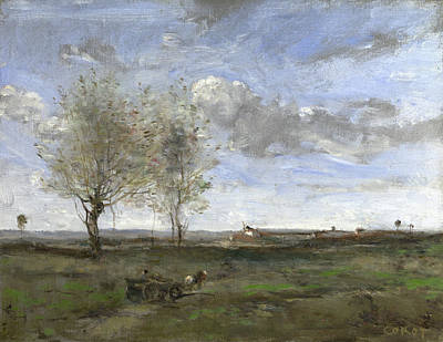 Wagon Painting - A Wagon In The Plains Of Artois by Camille Corot