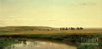 Pond Painting - A Wagon Train On The Plains by Thomas Worthington Whittredge