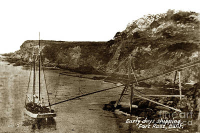 Photograph - A Two-masted  Schooner At Timber Cove Doghole Port    1900 by California Views Archives Mr Pat Hathaway Archives