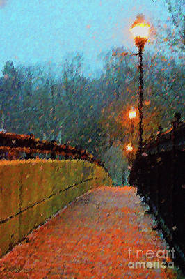 Lamp Post Mixed Media - A Walk Along The River by KaFra Art
