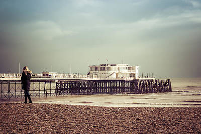 Photograph - A Walk By The Pier by David Warrington