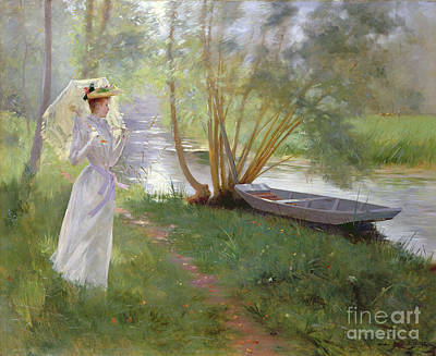 Light Reflections Painting - A Walk By The River by Pierre Andre Brouillet