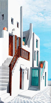 Awnings Painting - A Walk By The Sea In Mykonos - Original Oil Painting Available And Prints by Mary Grden Fine Art Oil Painter Baywood Gallery