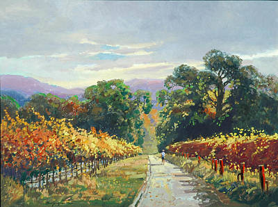 Napa Valley Vineyard Painting - A Walk In Autumn by Paul Youngman