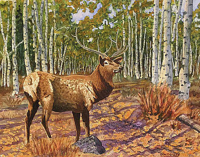 Painting - A Walk In The Aspens by Don Bosley