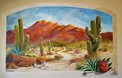 Barrel Painting - A Walk In The Desert Wall Mural by Marilyn Smith