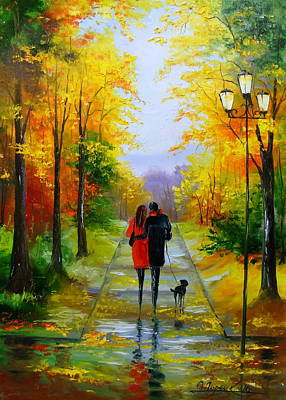 A Walk In The Early Autumn Art Print