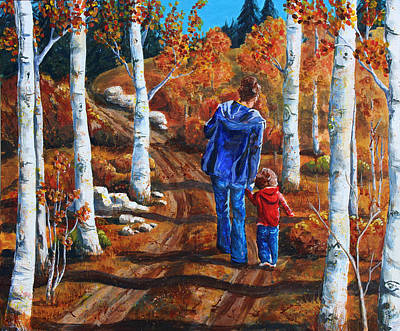 Wall Art - Painting - A Walk In The Fall by Cheryl Bishop