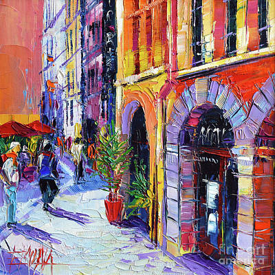 Purple Painting - A Walk In The Lyon Old Town by Mona Edulesco