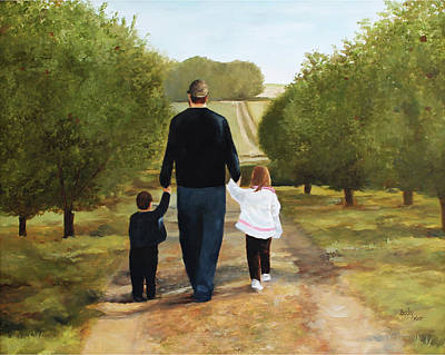 Painting - A Walk In The Orchard by Becky West