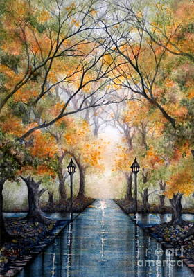 Coach Lamps Painting - A Walk In The Park - Autumn by Janine Riley