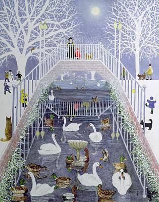 Swans... Painting - A Walk In The Park by Pat Scott