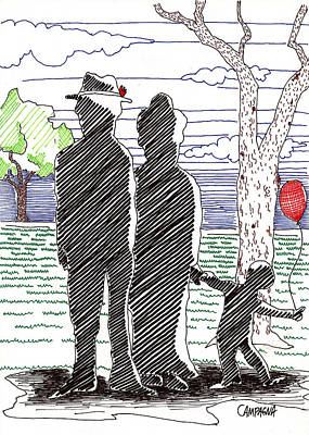 Drawing - A Walk In The Park by Teddy Campagna