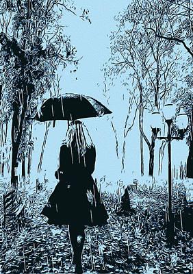 Digital Art - A Walk In The Rain by Andrea Mazzocchetti