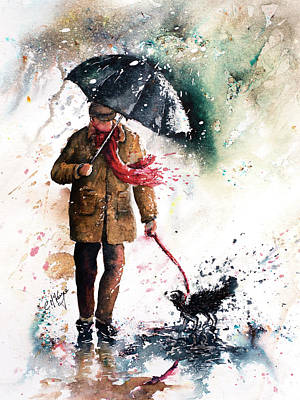 Wall Art - Painting - A Walk In The Rain by Carrie McKenzie