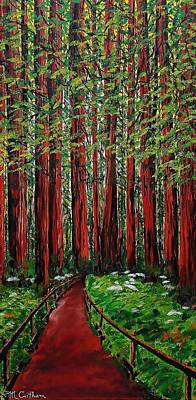 Painting - A Walk In The Redwoods by Mike Caitham