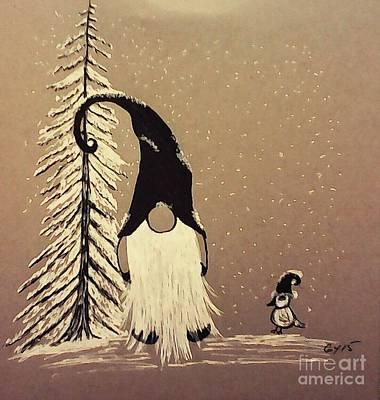 Trees In Snow Drawing - A Walk In The Snow by Ginny Youngblood