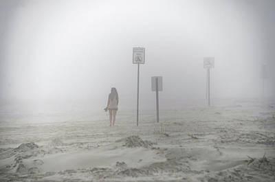 A Walk On A Foggy Beach Art Print by Bill Cannon