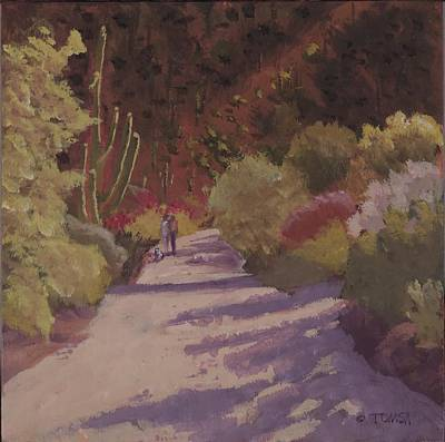 Painting - A Walk  On A  Sonoran Desert Road by Bill Tomsa