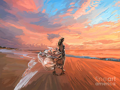 Painting - A Walk On The Beach Sm by Tim Gilliland