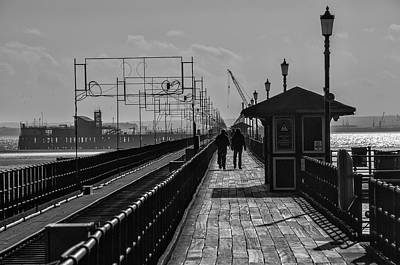 Greenman Photograph - A Walk On The Pier.  An Original Black And White Fine Art Photographic Print Of Southend Pier by Lee Thornberry