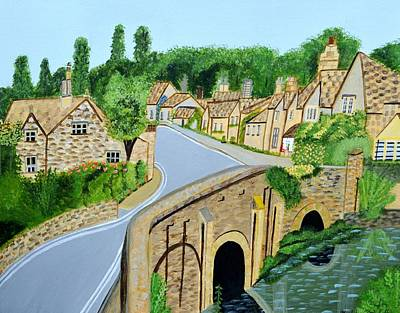 Painting - A Walk Through A Village In The English Cotswolds by Magdalena Frohnsdorff