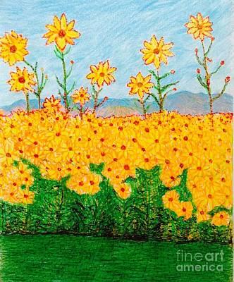 A Walk Through The Sunflowers  Art Print