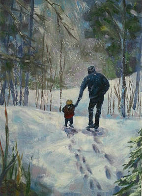 Painting - A Walk Thru The Winter Woods by Sharon Casavant