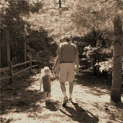A Walk With Papa Art Print by Laurianne Nash