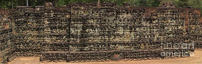 Photograph - A Wall Of Buddhas-signed by J L Woody Wooden