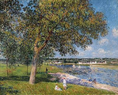 Thomery Painting - A Walnut In The Prairie Thomery by Alfred Sisley
